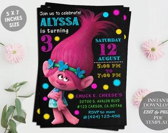 Trolls Editable Birthday Invitation Template, DIY Printable Invitation, Trolls Digital Invitation, Trolls poppy, PDF Instant Download