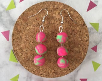 Dreamy Droplets in Strawberry Lime • Polymer Clay • Handmade  •  Stainless Steel  • Gift Idea  • Earrings • Unique