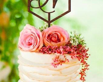Geometric wedding cake topper Letter N Cake Topper single letter cake topper Wood Monogram Gold Geometric Cake Toppers Letter N Initial cake