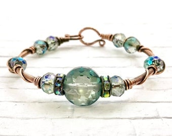 copper bracelet, wire wrapped bracelet, beaded bracelet, copper bangle, beaded bangle, handmade bracelet, mother's day gift
