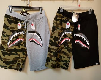 A Bathing Ape Bape Shark Mouth Camo Gray Black Sweats Shorts Brand New Fast US Shipping Handmade