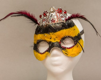 Hand Feathered Bee Mask