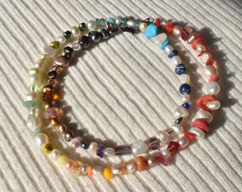 Rainbow Pearl Multicolor Necklace / Coral Turquoise Glass Citrine Sodalite / Mixed Multicolor Beaded Necklace / Minimalist Gift for Her
