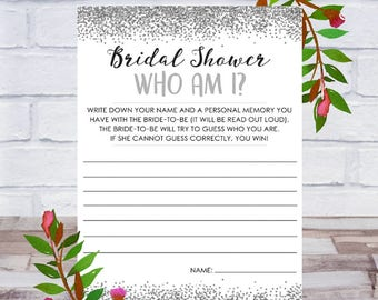 Who Am I, Bridal Shower Game, Printable, Bachelorette Party, Cards, Size 5x7, Silver Confetti, Instant DIGITAL DOWNLOAD