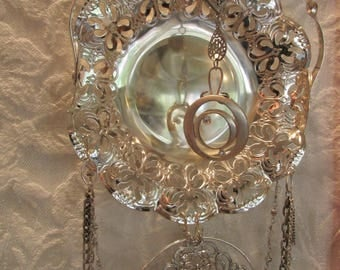 Silver candy dish, Crystal embellishments, Upcycled chain, 24 Inches long, UpcycledKreations