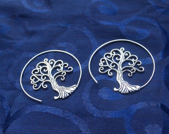 Tree of Life Spiral Earrings. Spiritual Earrings.