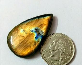 40.20 x 24.88 mm,Pear Shape/Tear Drop Labradorite Cobochon/Golden Flash/wire wrap stone/Super Shiny/Pendant Cabochon/Semi Precious Gemstone