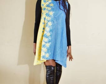 FOLKSHELF African Print Denim Mix Dress