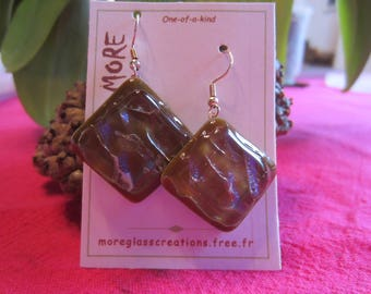 Blue violet glossy hues including Brown glass earrings