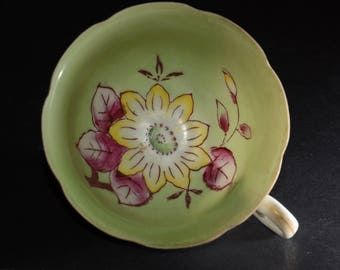 Vintage, OCCUPIED JAPAN, China Hand Painted, White / Green, Teacup only, orphan teacup, Yellow, large, flower, pink leaves, 1940s, Japanese