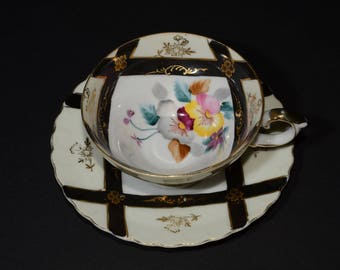 CASTLE, Aristocrat, Japan, Hand Painted, Bone China, Footed Teacup and Saucer, gold filigrane, floral, pansy, black stripes, rare, Vintage