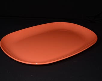 Vintage, CYANAMID, Orange, by Cyanamid of Canada Limited, Melamine, Serving platter, Hard Plastic, Made in Canada, MCM