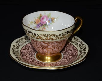 EB FOLEY, Pink Teacup and saucer, Bone China, England, 2986, hand-painted, gold filigree and flowers, tea set, Gold edge, accents,  c.1950s