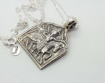Tribal Pendant Sterling Silver Necklace  /Vintage Ethnic Silver Pendant/925   /Free Shipping US/Silver Ethnic Necklace