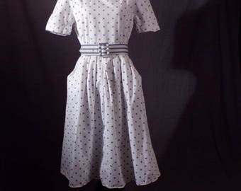 Vintage 1980s Dress - White and Blue Polka-Dot Heavy Cotton 1940s Style Sundress with Belt byJessica Howard