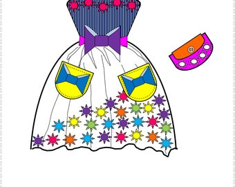 Doll Fashion Art Coloring Pages  Easy, Relaxing, Fun  Coloring Pages  Great Kids Activity  Set 1