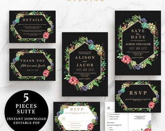 Black and Gold flower Wedding Suite, Invitation, Save the Date, RSVP, Thank You Card, Details Card, Instant Download Printable, EWSU005