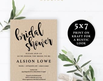 Simple Black and White Bridal Shower Invitation Template, 5x7, Instant Download Printable, Editable PDF, EWBS006