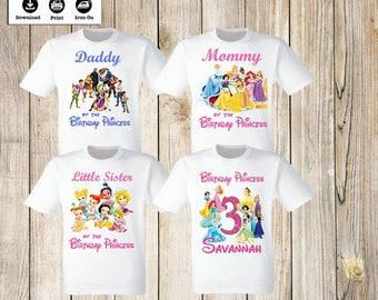 Disney Princess Birthday Party iron on transfers Personalized Disney Princess Family Set of 4 iron on t-shirt transfers. Digital Files only.