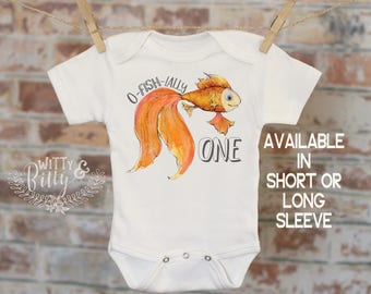 Officially One Goldfish Onesie®, First Birthday Onesie, Customized Onesie, Cute Onesie, Boho Baby Onesie, Funny Onesie - 162O