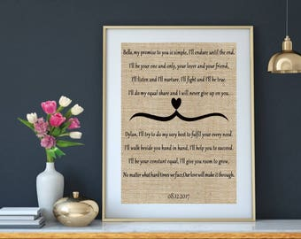 Wedding Vows Gift On Burlap | Wedding Keepsake | Paper Anniversary | Wedding Vows on Burlap | Anniversary Gift | Husband Gift | Wife Gift