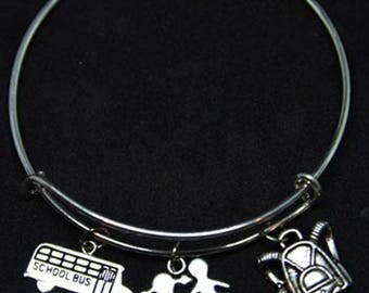Crossing Guard Themed Expandable Bangle Charm Bracelet/Crossing Guard/Gift/Wire/School Themed