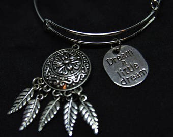 Dreamcatcher Expandable Bangle Charm Bracelet/Dream/Feather/Gift for Mom/Mothers Day Gift/Wire