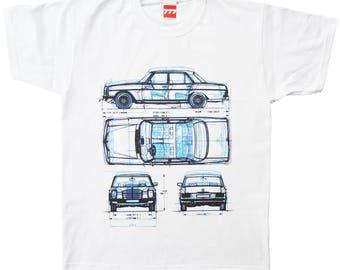 Three Mercedes Benz limousines tshirt W114 W111 W120 vintage german car limo
