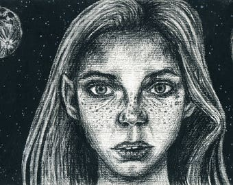 Art print daughters of the moon, Contemporary Art, Moon, Charcoal, Illustration, Visual Art.