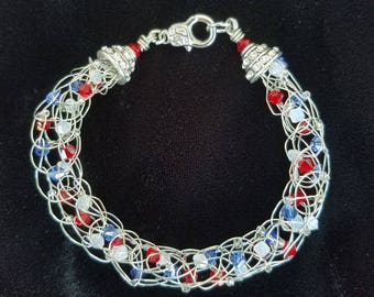 You're a Grand Old Flag Silver Wire, Red, White, and Blue Crystal Bead Bracelet