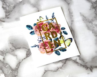 Tea Party Blank Card, Floral French Theme Postcard, Retro Card Gifts, Birthday Gifts For Her, Floral Vibes, Garden Gold Foil Text, Wedding