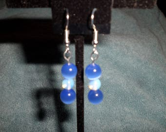 Blue Cats Eye and Opalite Drop Earrings