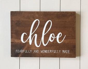 Custom Name Sign   Fearfully and Wonderfully Made, Wood Sign, Farmhouse Style, Nursery Lettering, Bedroom Decor, Nursery Decor, Nursery Art