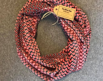 Coral and Black Chiffon Infinity Scarf