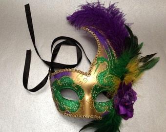 Purple Green Carnival Mardi Gras Party Masquerade ball mask