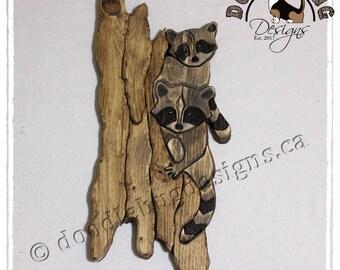 Custom Raccoon Wall Art  • Raccoon Art  • Animal Wall Art  •  Wildlife Wall Art  • Cute Animal Gift  • Folk Art Gift  •  Rustic Wall Hanging
