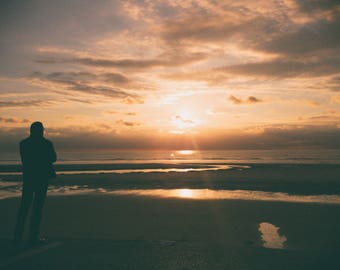 France Silhouette Sunset Seascape Photo Print
