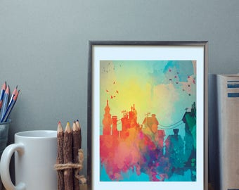 Modern city scape silhouettes wall art, watercolor poster, nature print, modern print, home wall decor, apartment wall art, poster gift