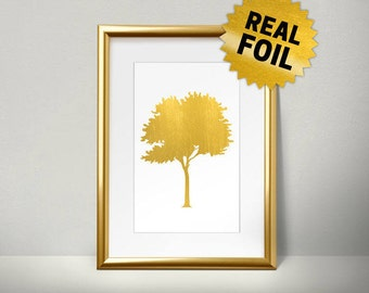 Real Gold Foil Print, Tree wall pictures, Kitchen Wall Art, Home wall Picture, Foil Art, Handmade Print, Metallic Gold Wall Art,