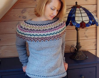 Handknitted /womens sweater/ Icelandic style/wool sweater/winter sweater/ holidays sweater/lightweight sweater