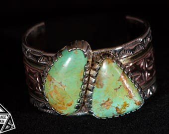 Green Turquoise Cuff • Hand Stamped • Cuff • Men's Bracelet • Green Kingman Turquoise • Sterling Silver • Copper • Brass
