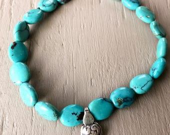 Turquoise stone layer beaded bracelet
