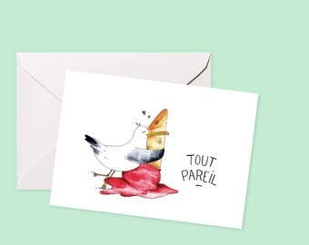 """""""Seagull"""" - Illustrations, Montreal Valentines card."""