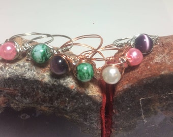 three bead wire wrapped ring