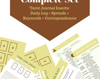 A4 Sized - Complete Set of Tarot Journal Inserts, A4 Spread and Keyword Pages for Learning Divination and Card Reading