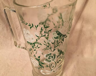 Vintage White and Green Floral Printed Pitcher