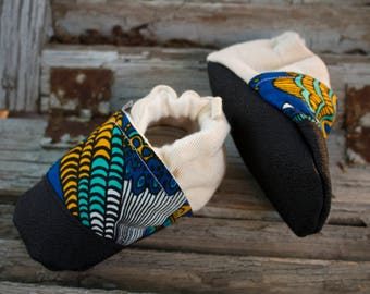 Soft Sole Baby Shoes /  African Style Baby Shoes / Crib Shoes / Baby Booties / Crawler Shoes / Baby Shower Gift / Vegan Baby Shoes