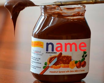 Personalised Label For Nutella Jar Nutella name Personalised Nutella Your name