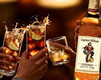 Birthday Captain Morgan 750 mL labels rum, captain morgan label, captain morgan gift, captain morgan birthday, captain morgan party