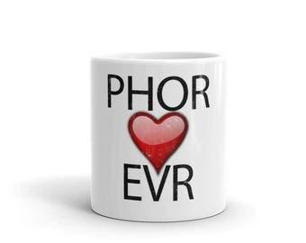 Phor Heart Evr Spartees Distressed White Mug